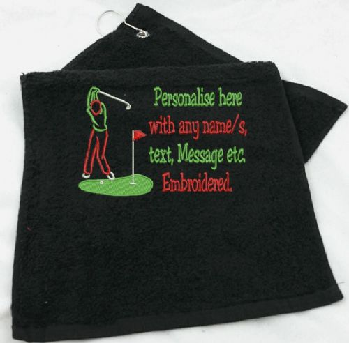 Golf Towel with small message/Text to the side of golfer silhouette.